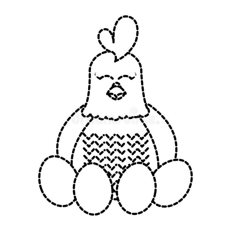 Animal de ferme adorable pointillé de poule de forme avec des oeufs illustration stock