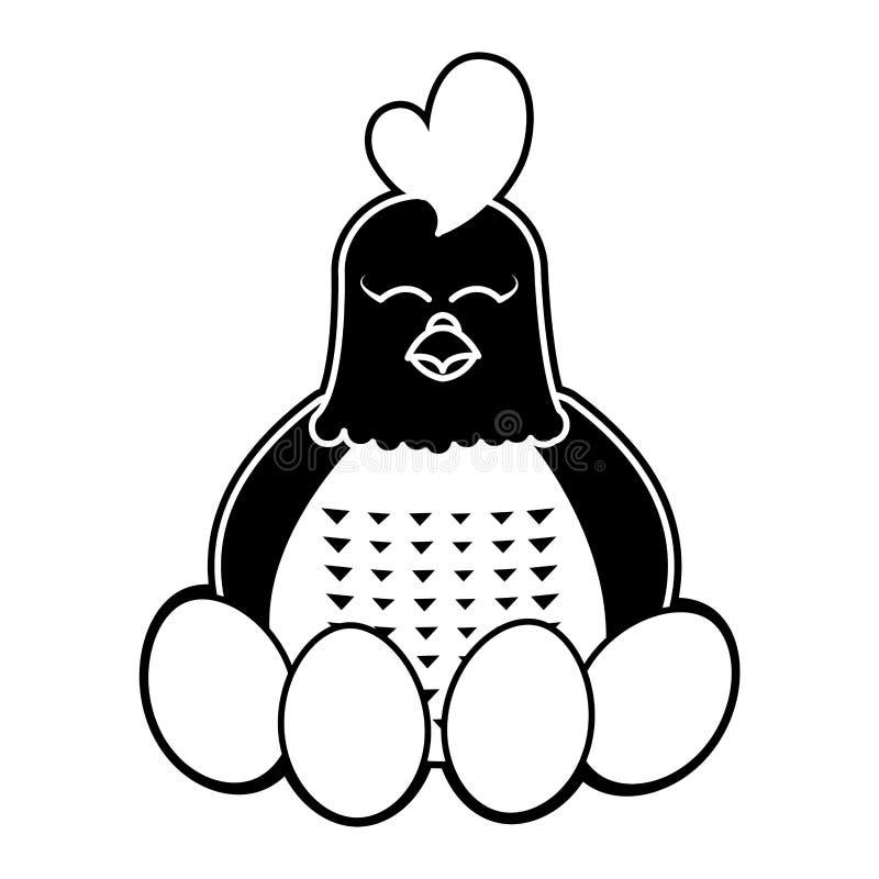 Animal de ferme adorable de poule de silhouette avec des oeufs illustration stock