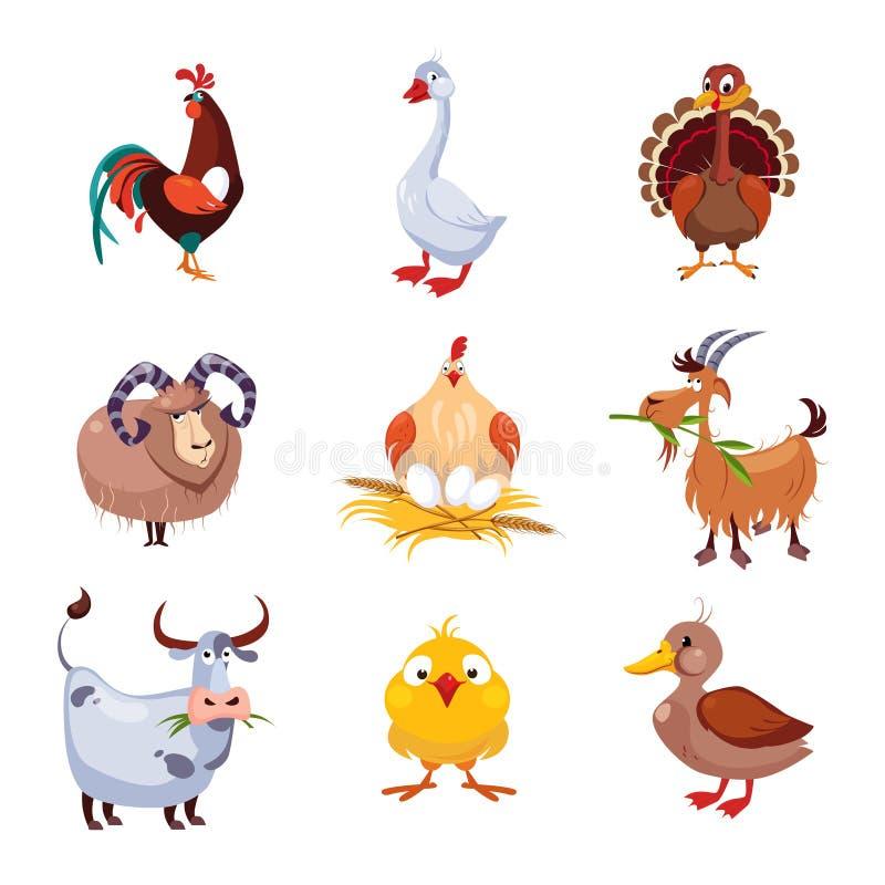Animal de ferme et ensemble d'illustration de vecteur d'oiseaux illustration de vecteur