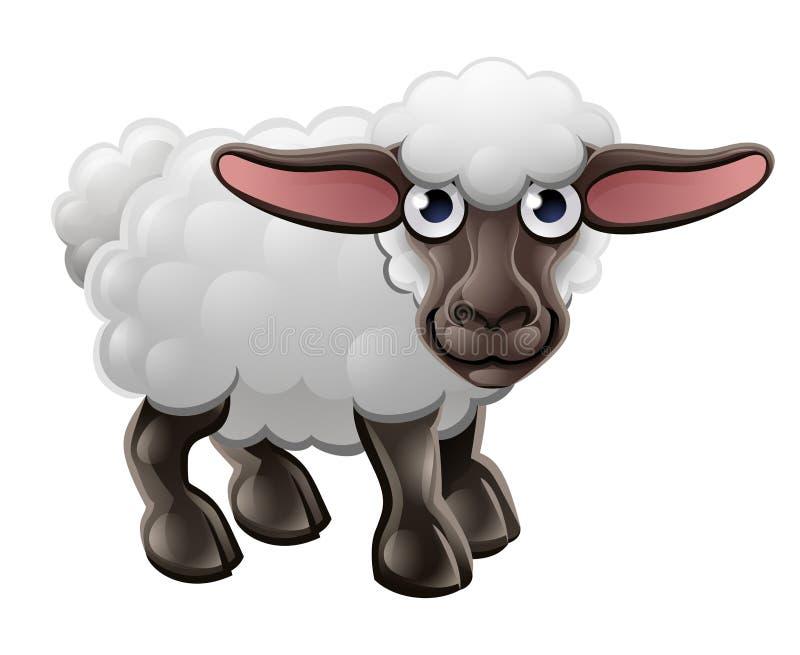 Animal de ferme mignon de moutons de bande dessinée illustration de vecteur