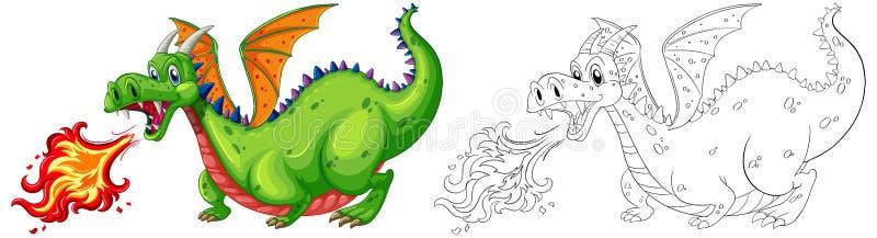 Animal de griffonnage pour le feu de soufflement de dragon illustration libre de droits