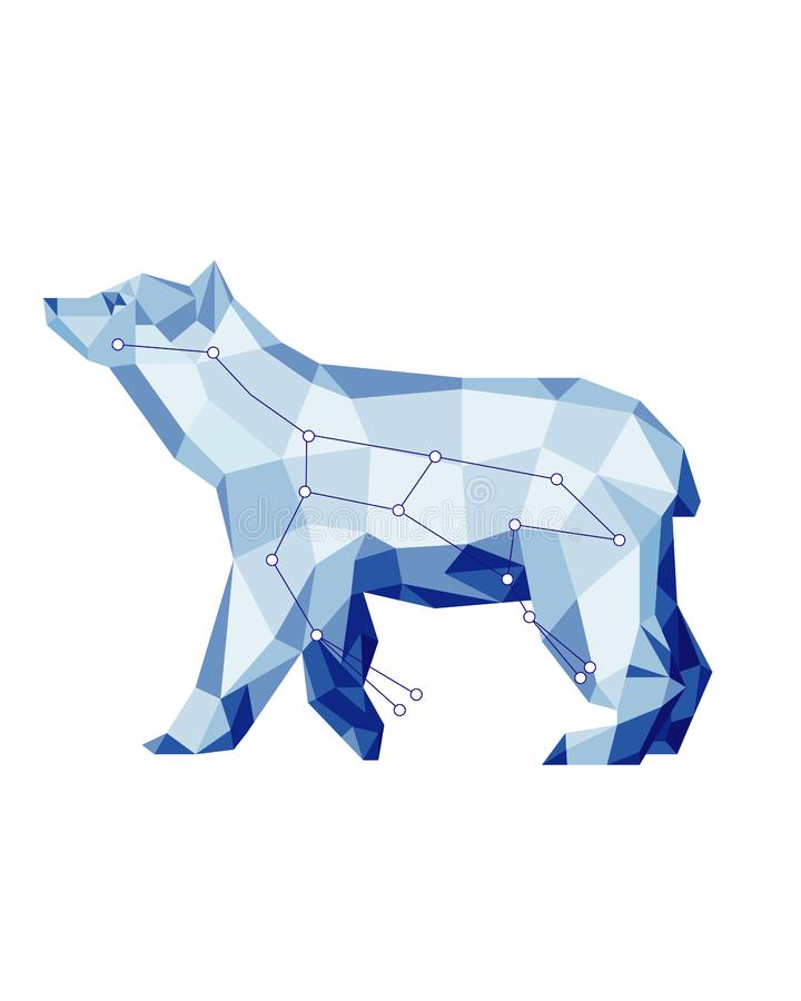 animal de la constelación con las estrellas Oso azul en estilo polivinílico bajo ilustración del vector
