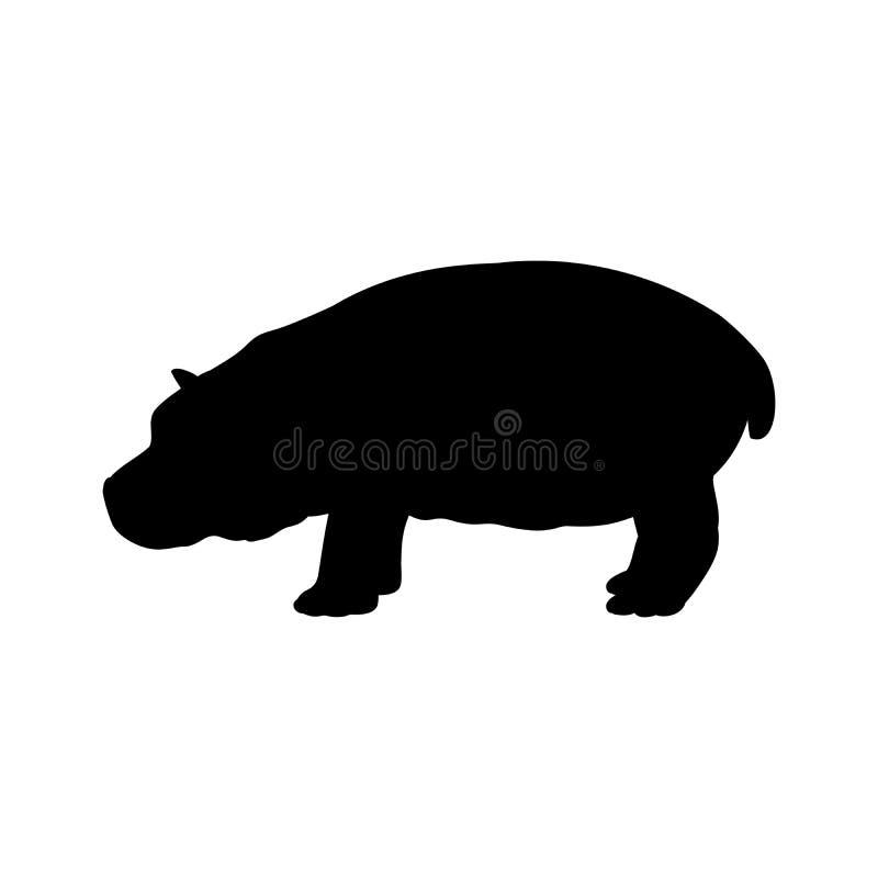 Animal de la silueta del negro del mamífero del hipopótamo de Cub ilustración del vector