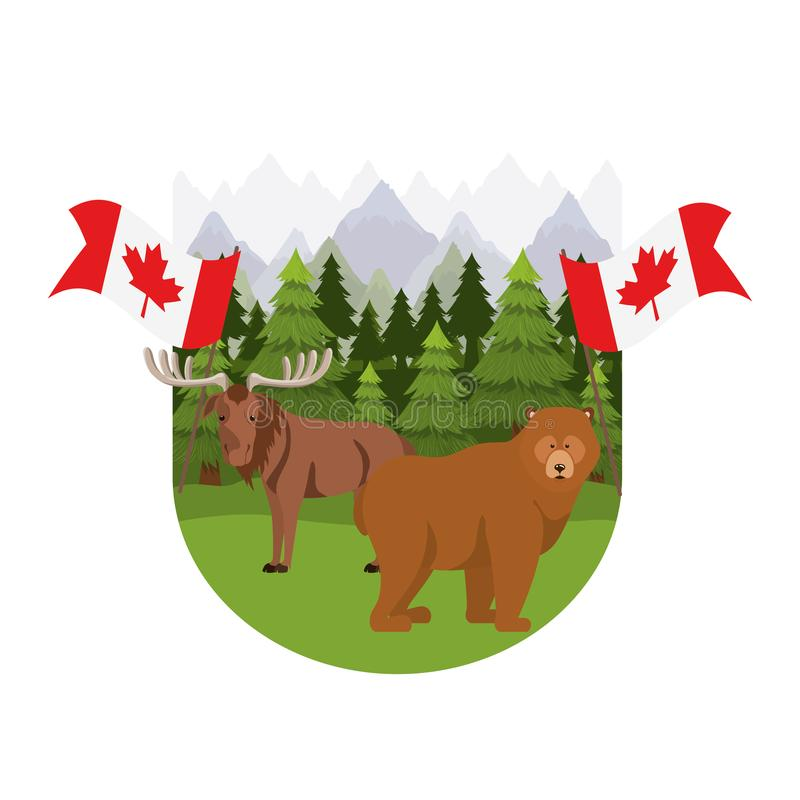 Animal de los alces y del oso del diseño de Canadá libre illustration