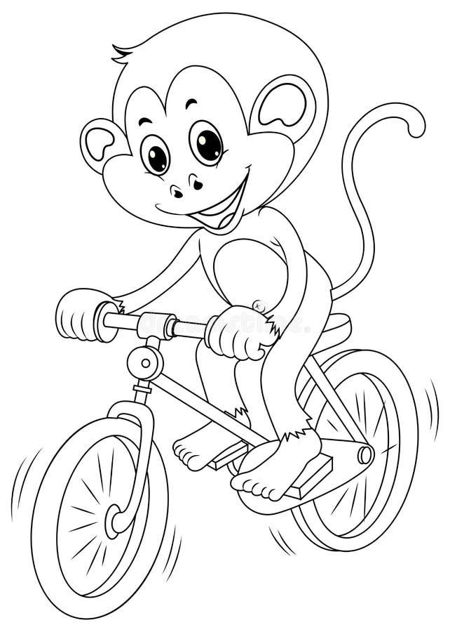 Animal de rédaction pour le vélo d'équitation de singe illustration libre de droits