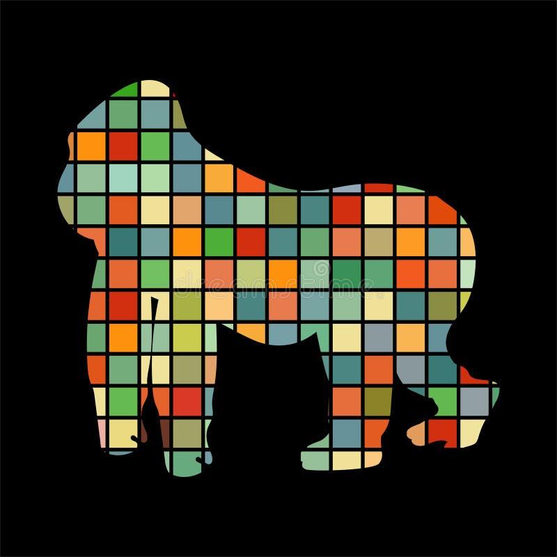 Animal de silhouette de couleur de primater de singe de gorille illustration libre de droits