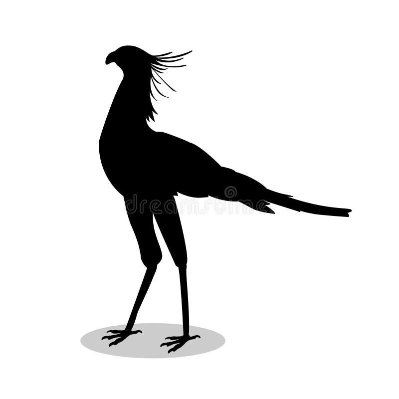 Animal de silhouette de noir d'oiseau de secrétaire illustration stock