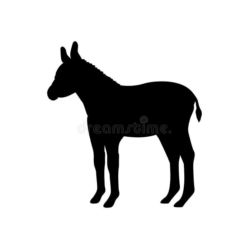 Animal de silhouette de noir de mammifère de ferme d'âne de bébé illustration libre de droits
