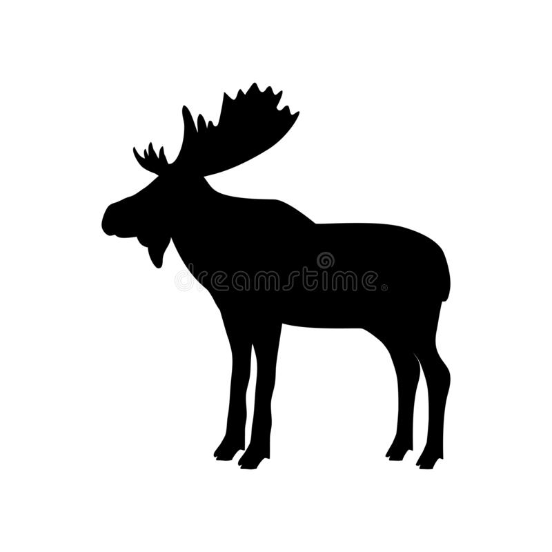 Animal de silhouette de noir de mammifère de taureau d'orignaux d'élans illustration libre de droits