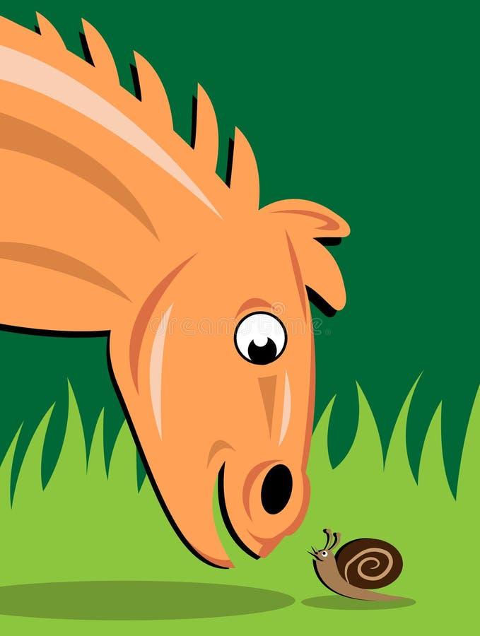 Animal de vitesse et amphibie lent illustration de vecteur