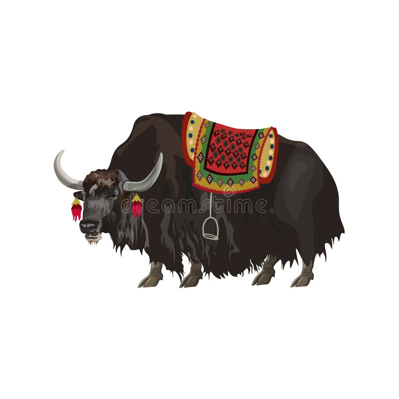Animal de yaks avec la selle illustration stock