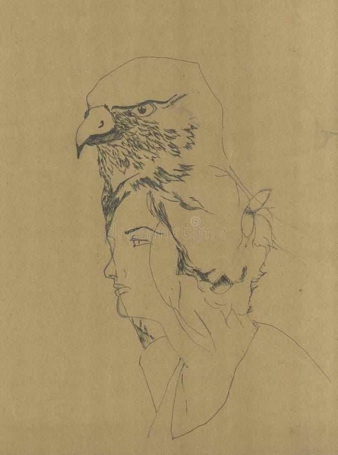 Animal del alma en hombre El alcohol del águila en la figura femenina libre illustration