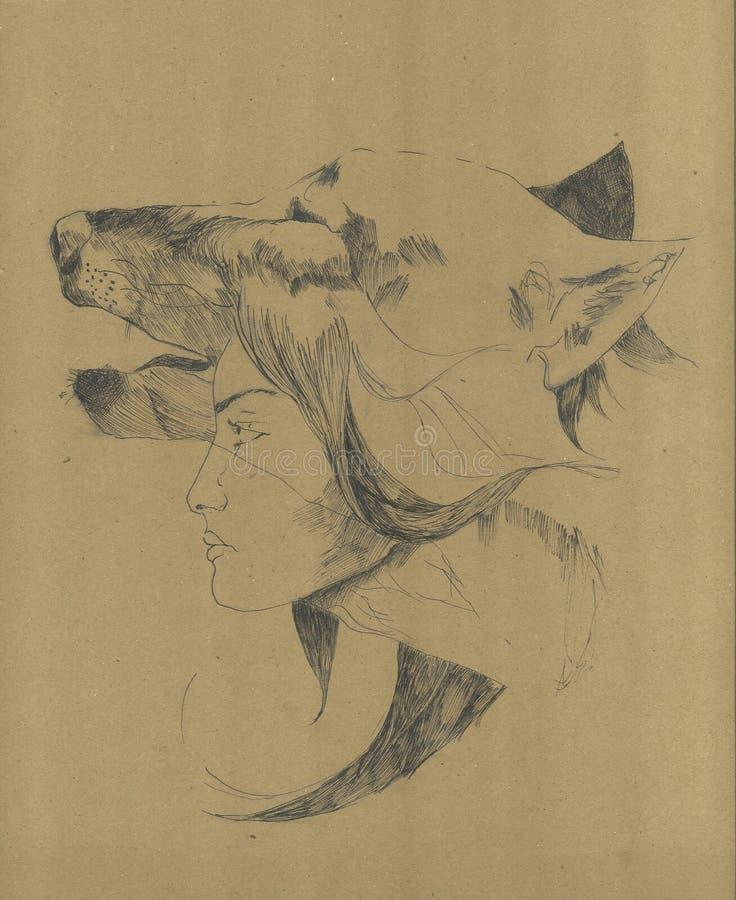 Animal del alma en hombre El alcohol del lobo en la figura femenina stock de ilustración