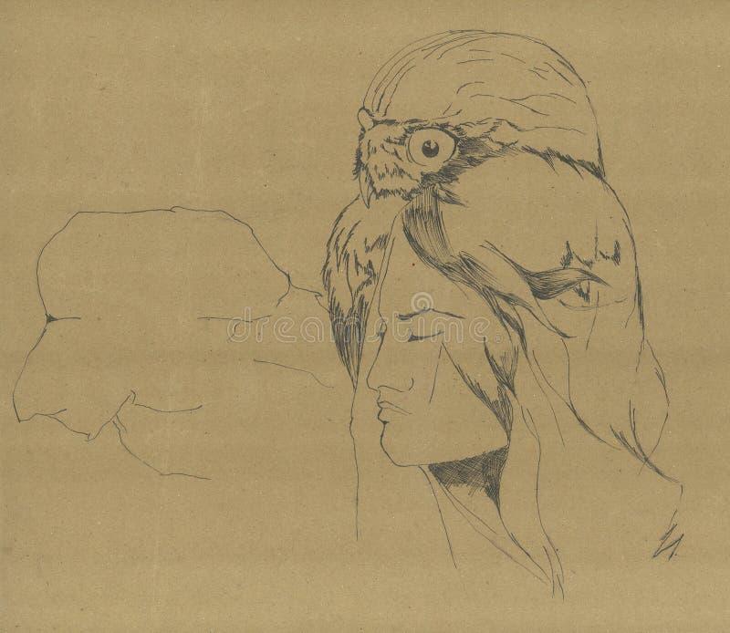 Animal del alma en hombre El búho del fantasma en una figura femenina ilustración del vector