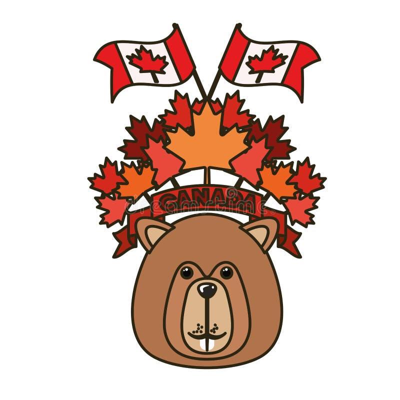 Animal del bosque del castor del diseño de Canadá ilustración del vector
