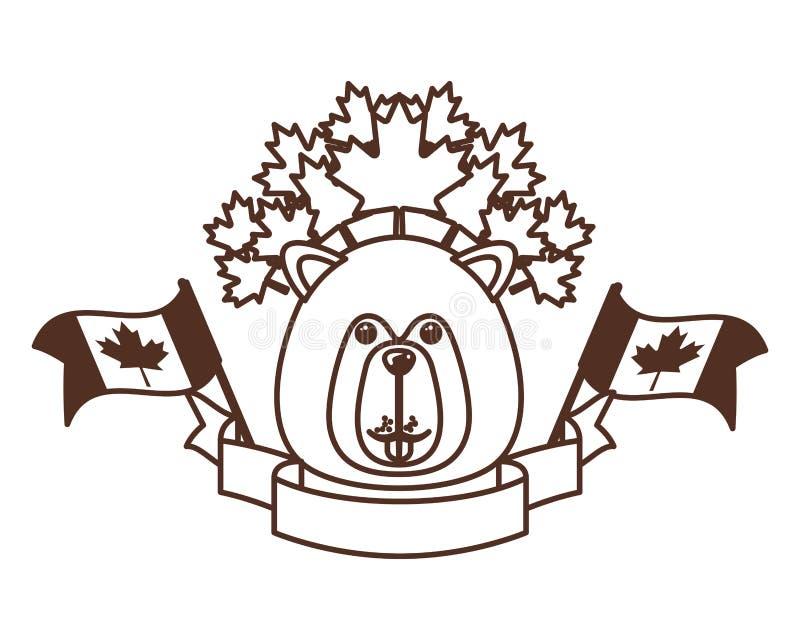 Animal del bosque del castor del diseño de Canadá stock de ilustración