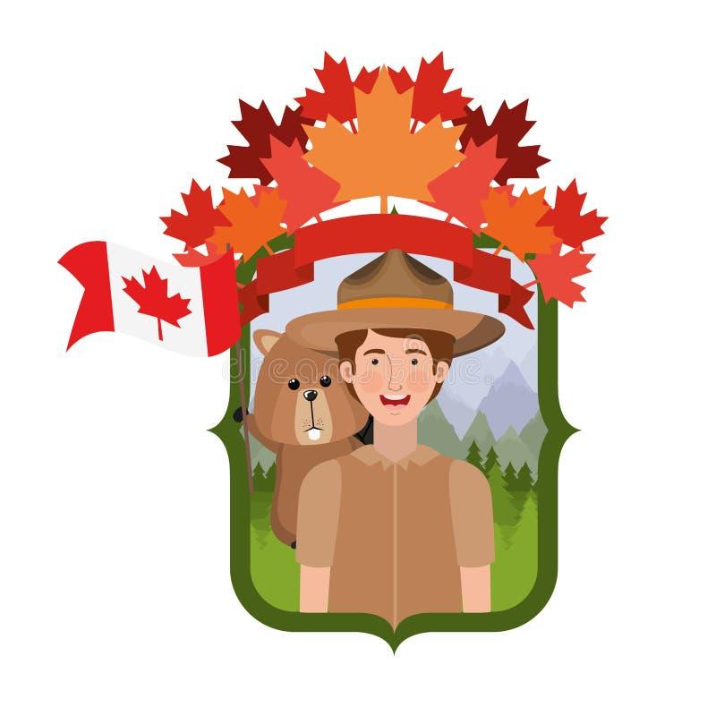 Animal del bosque del castor y guardabosques del diseño de Canadá libre illustration