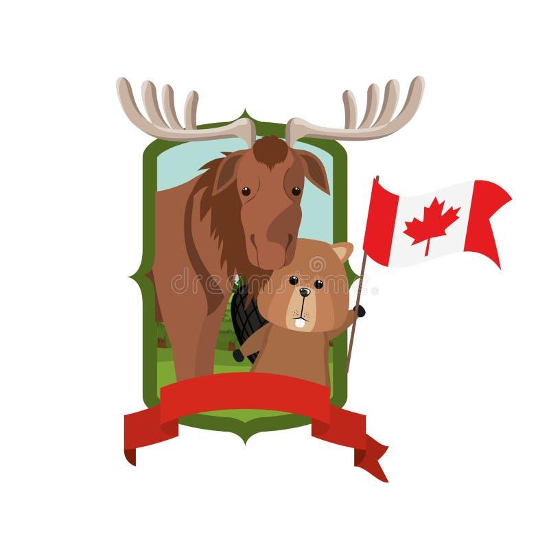 Animal del bosque de los alces y del castor del diseño de Canadá ilustración del vector