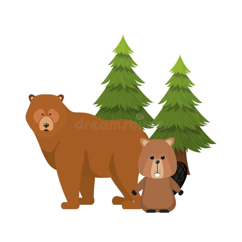 Animal del bosque del oso y del castor del diseño de Canadá ilustración del vector
