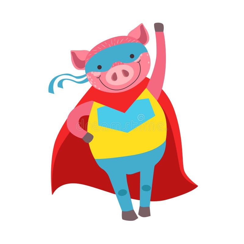 Animal del cerdo vestido como super héroe con un carácter enmascarado cómico del vigilante del cabo ilustración del vector