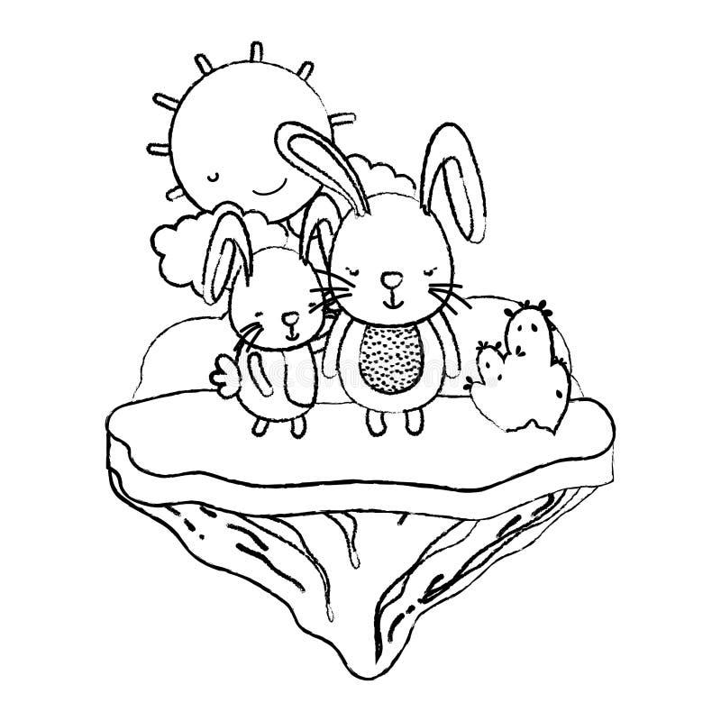 Animal del conejo de los pares del Grunge en la isla del flotador stock de ilustración