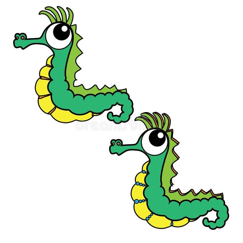 Animal del ejemplo del extracto del diseño de la historieta del icono del Seahorse stock de ilustración