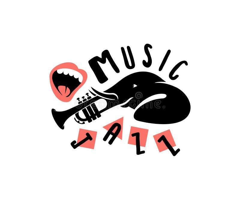 Animal del elefante, instrumento y boca, diseño de la tronco-trompeta de la tipografía de la impresión Música, melodía, jazz y ju stock de ilustración