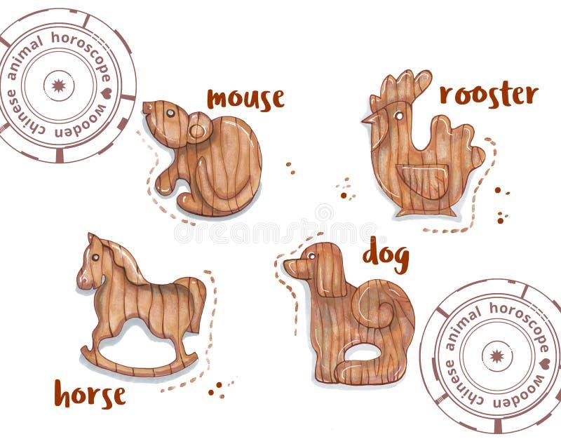 Animal del horóscopo como juguetes de madera ilustración del vector