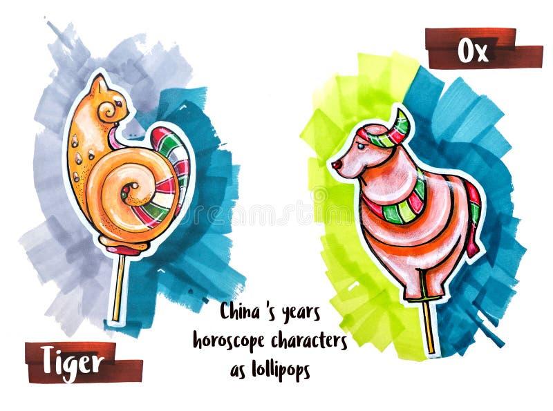 Animal del horóscopo del dibujo de la mano como piruletas stock de ilustración