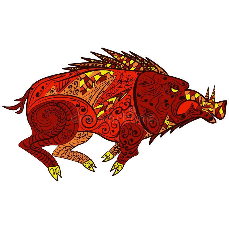 Animal del jabalí en el estilo Zentangle del garabato ilustración del vector