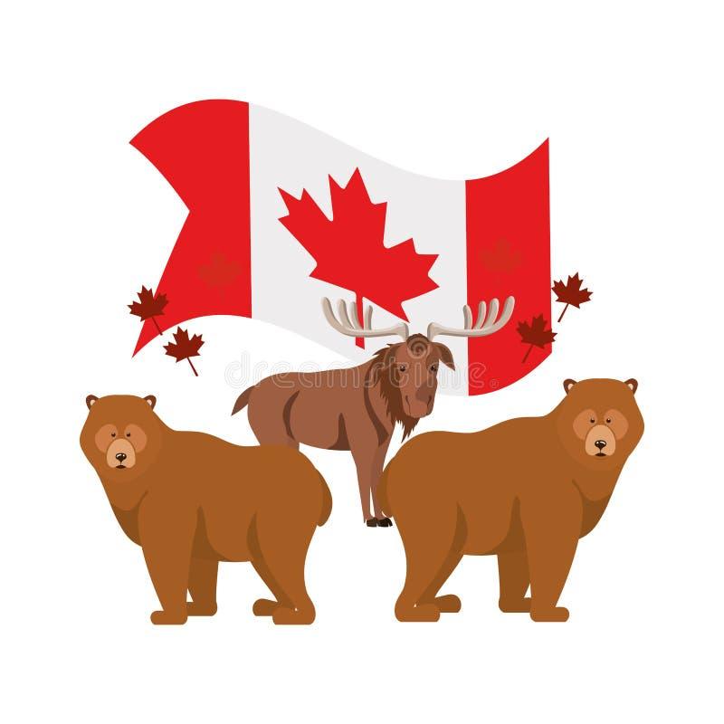 Animal del oso y de los alces del diseño de Canadá libre illustration