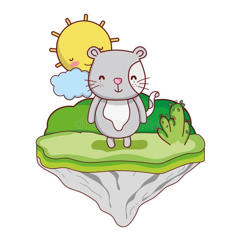 Animal del ratón macho en la isla del flotador ilustración del vector