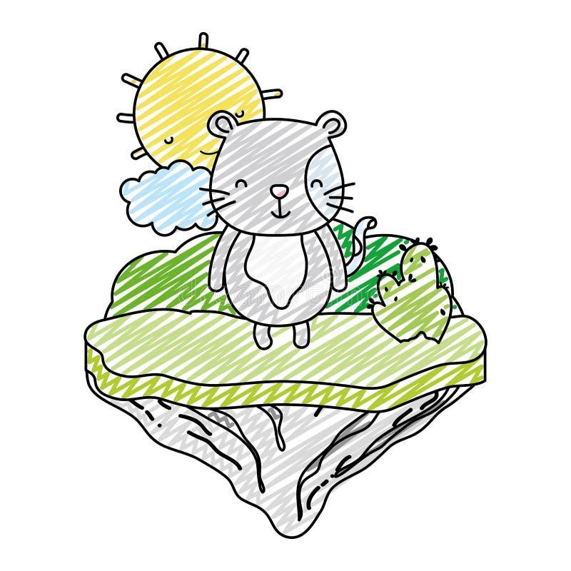 Animal del ratón macho del garabato en la isla del flotador ilustración del vector