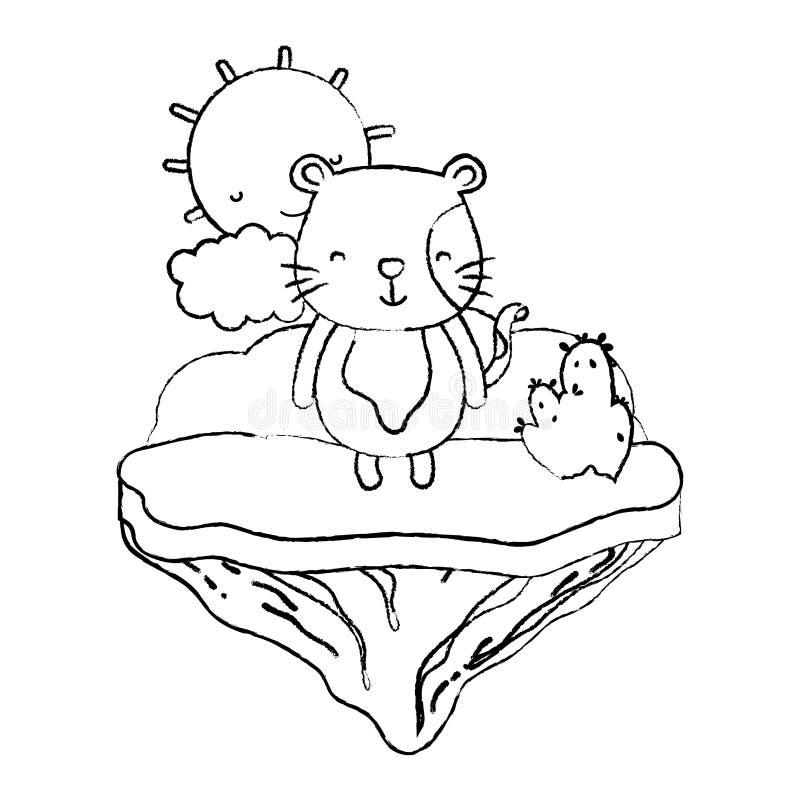 Animal del ratón macho del Grunge en la isla del flotador libre illustration