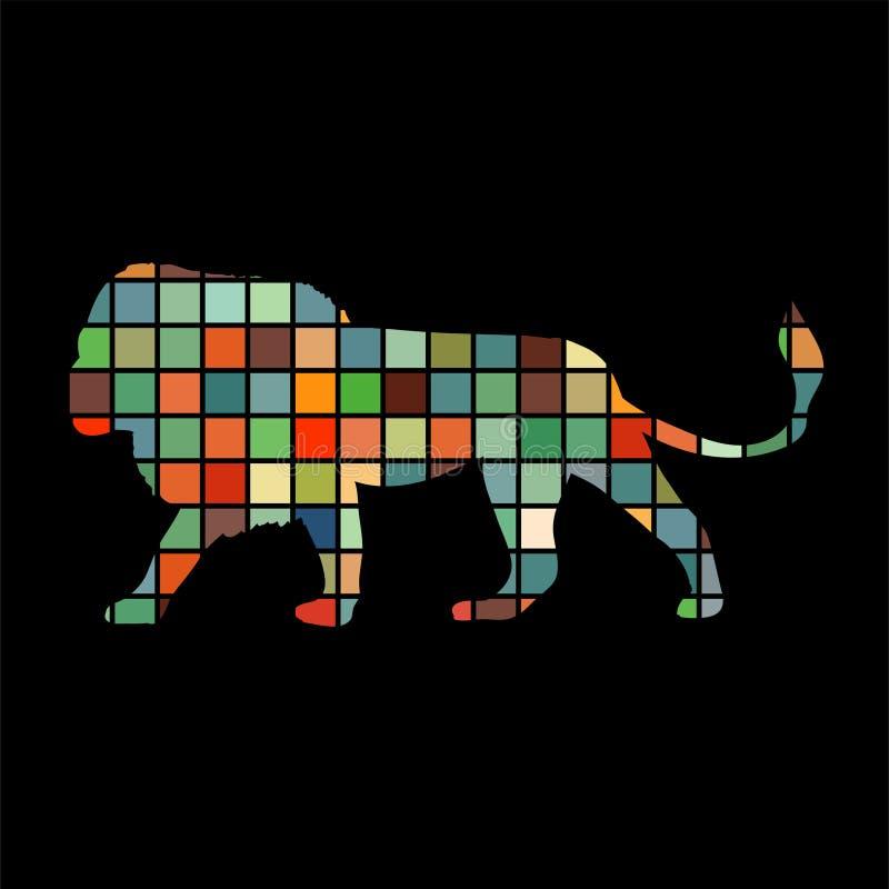 Animal despredador de la silueta del color del león stock de ilustración