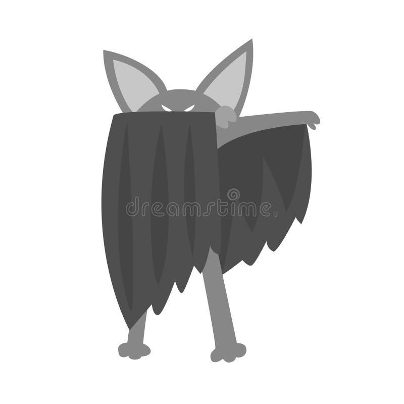 Animal do bastão vestido como o super-herói com um caráter geométrico mascarado cômico do vigilante do cabo ilustração royalty free