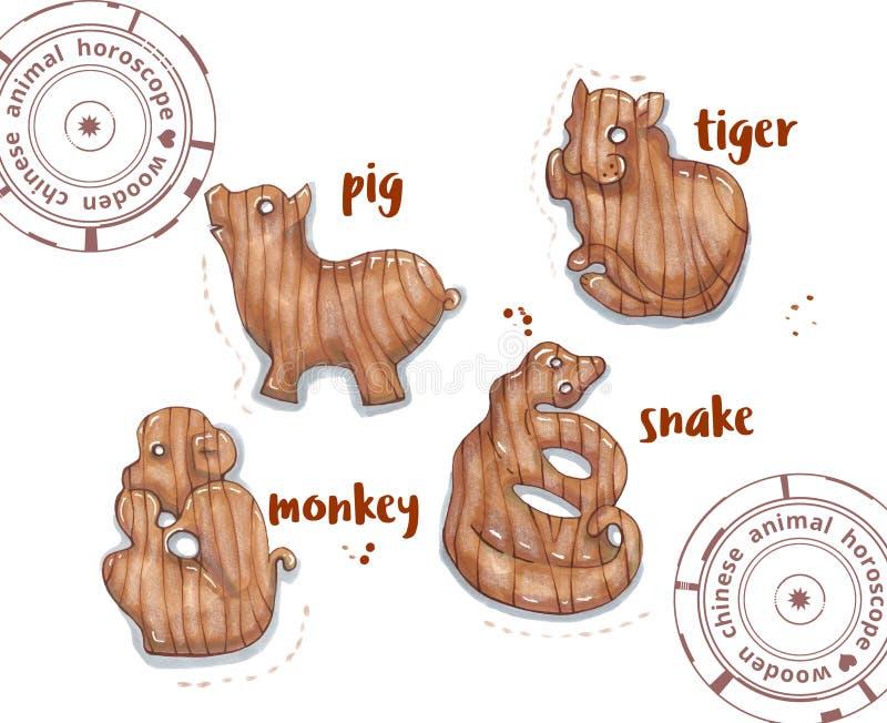 Animal do horóscopo como brinquedos de madeira ilustração do vetor