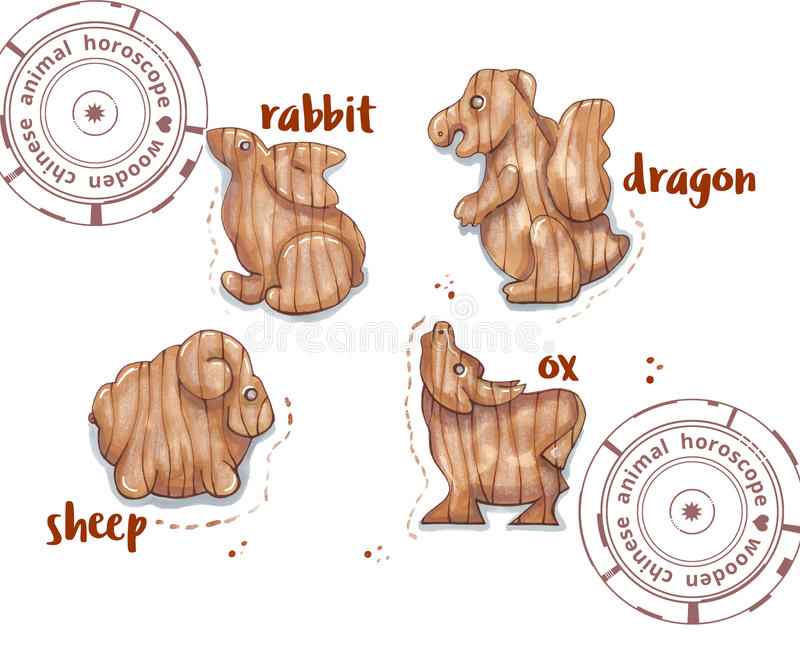 Animal do horóscopo como brinquedos de madeira ilustração royalty free