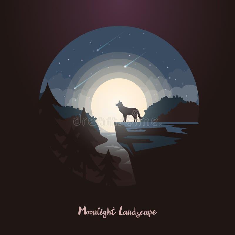 Animal do lobo na rocha ou penhasco na floresta da noite ilustração do vetor