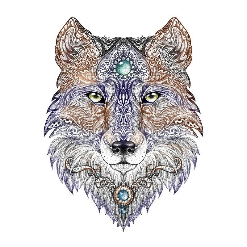 Animal do lobo principal da tatuagem de rapina selvagem