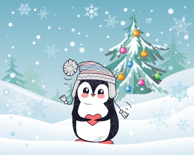 Animal do pinguim no chapéu e no coração Paisagem do inverno ilustração royalty free