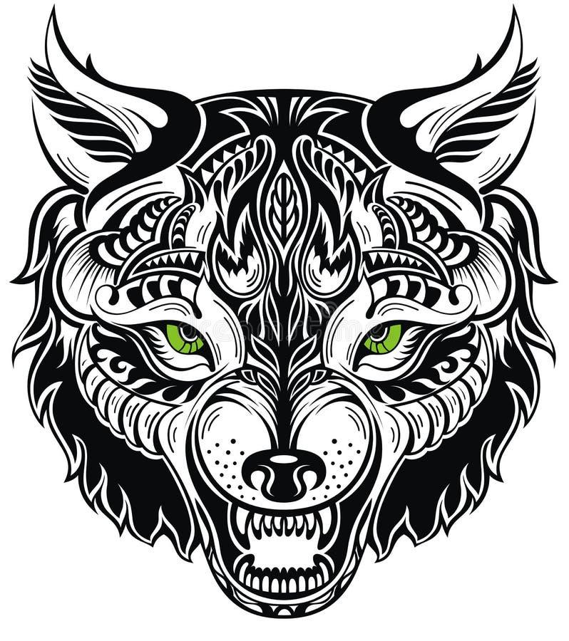 Animal do totem Tatuagem do lobo ilustração stock