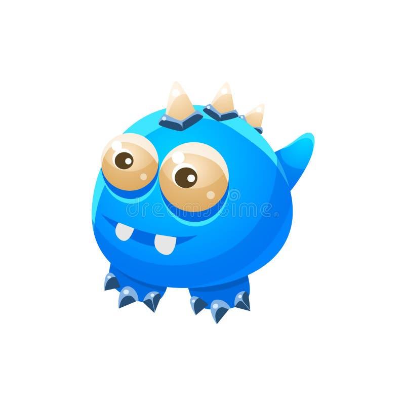 Animal doméstico amistoso fantástico sin alas azul Dragon Fantasy Imaginary Monster Collection stock de ilustración