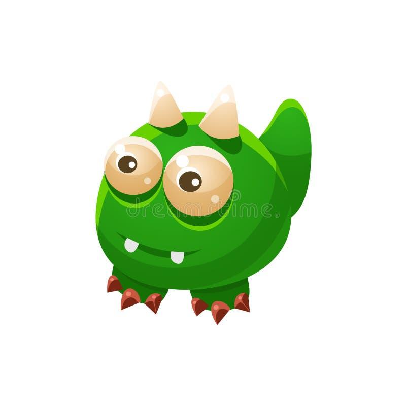 Animal doméstico amistoso fantástico sin alas verde Dragon Fantasy Imaginary Monster Collection ilustración del vector