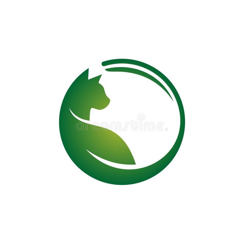 Animal doméstico orgánico Cat Food Clinic Health Care Logo Symbol ilustración del vector