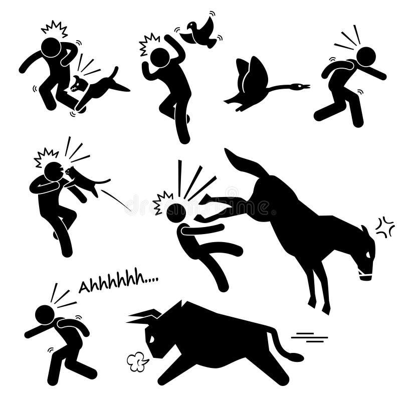 Animal doméstico que ataca el icono humano del pictograma libre illustration