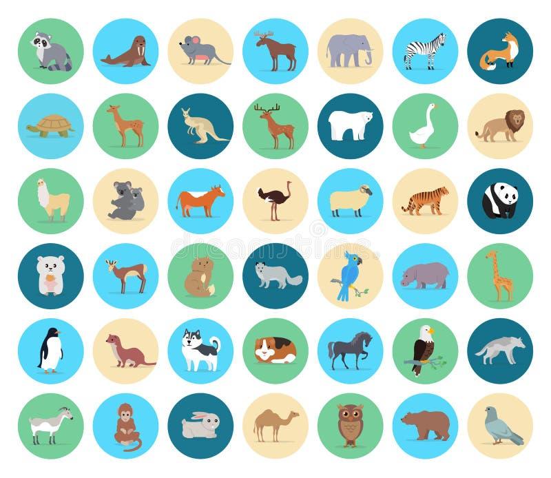 Animal domestique et sauvage dans la collection de cercles illustration libre de droits