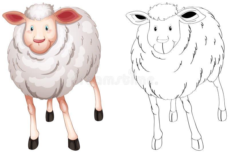Animal doodle outline for sheep royalty free illustration
