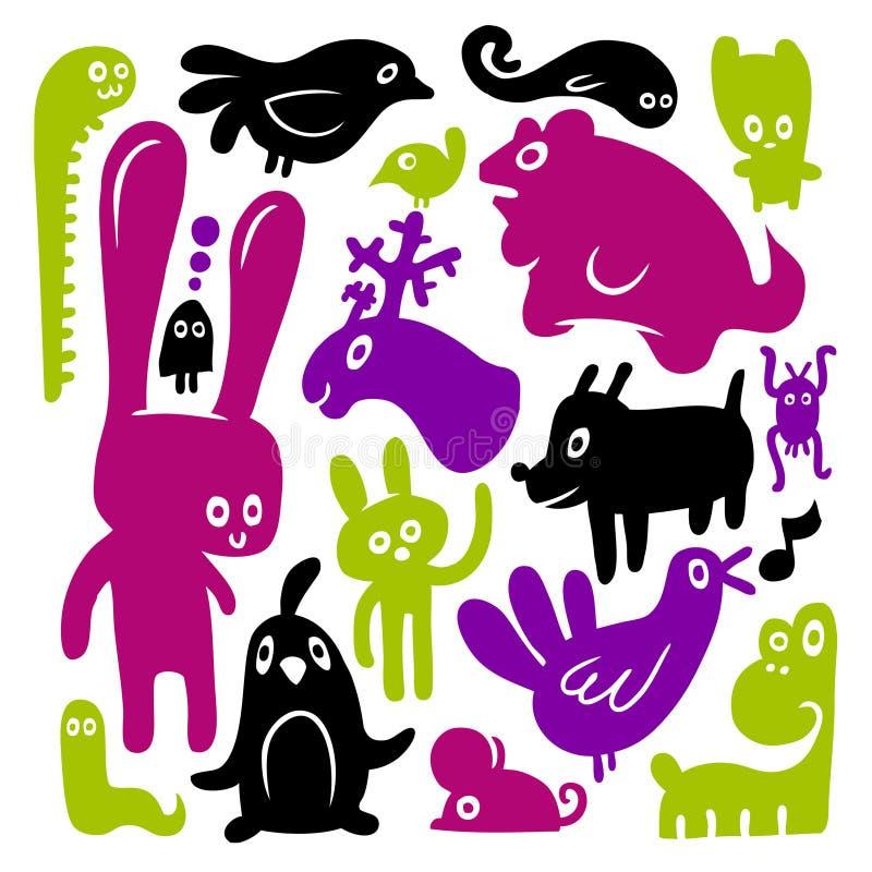 Animal doodles. A colorful animal doodles set vector illustration