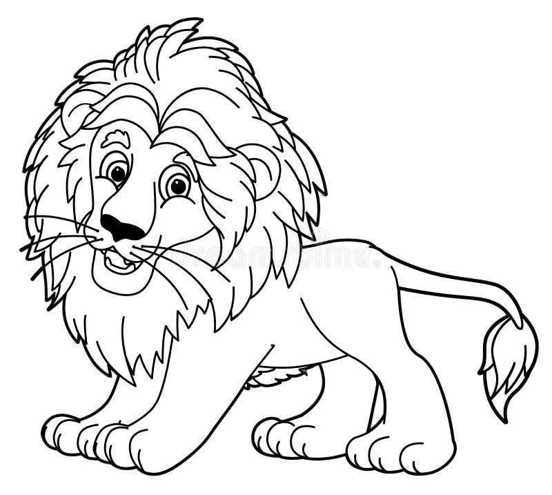 Animal dos desenhos animados - leão - caricatura ilustração stock